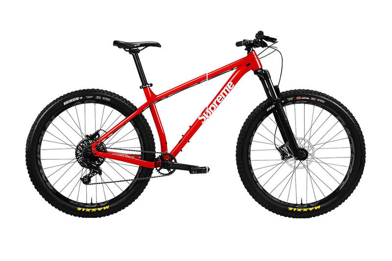 "Supreme santa cruz chameleon 27.5""+ Complete Mountain Bike collaboration drop release date info bicycle red colorway logo tires december 12 2018"