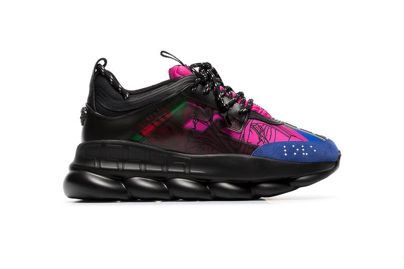 Versace chain reaction black multicolor sneaker shoe colorway pattern print 822 usd farfetch buy price sale