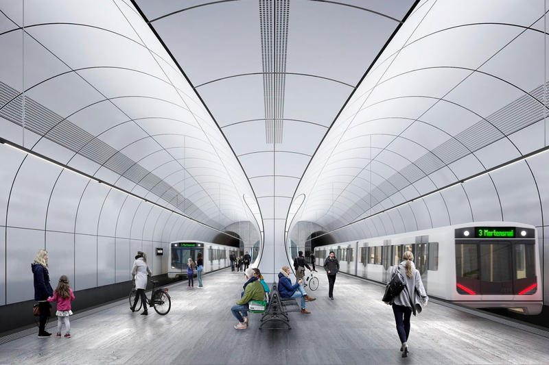 Zaha Hadid Architects Oslo Metro Stations Design a_lab architecture norway Fornebu Senter Fornbuporten stations renderings