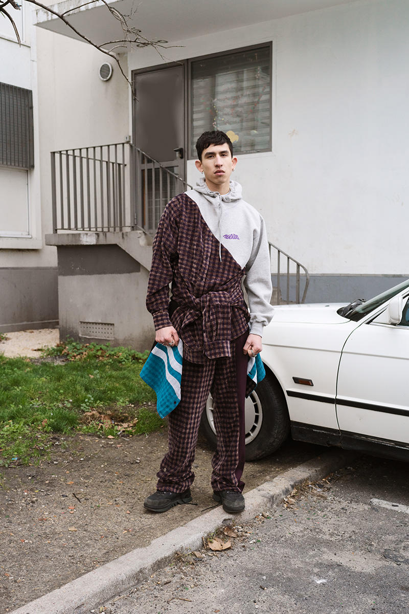 "3.PARADIS ""CALAVIÑAS"" FW19 Lookbook fall/winter 2019 editorial menswear Artistic director Emeric Tchatchoua nostalgia money jacket knit sweater pigeons sun trackpants suit blazer"