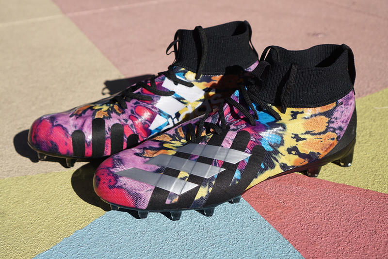 Foot Locker x adidas SPEEDFACTORY Super Bowl LIII Collection cleats sneakers multi colored white boost midsole nfl football SPEEDFACTORY AM4ATL Atlanta
