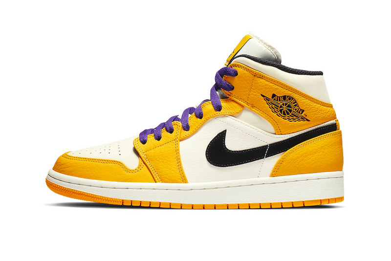 b5d1e5bf7 Jordan Brand has just released a pair of Air Jordan 1 Mids dedicated to  hardcore Lakers fans. Perfect for those still dreaming about the 2002-era  three-peat ...