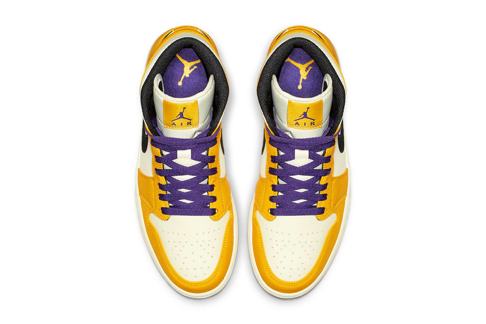 364e9d6232d1 Air Jordan 1 Mid Lakers Colorway Release