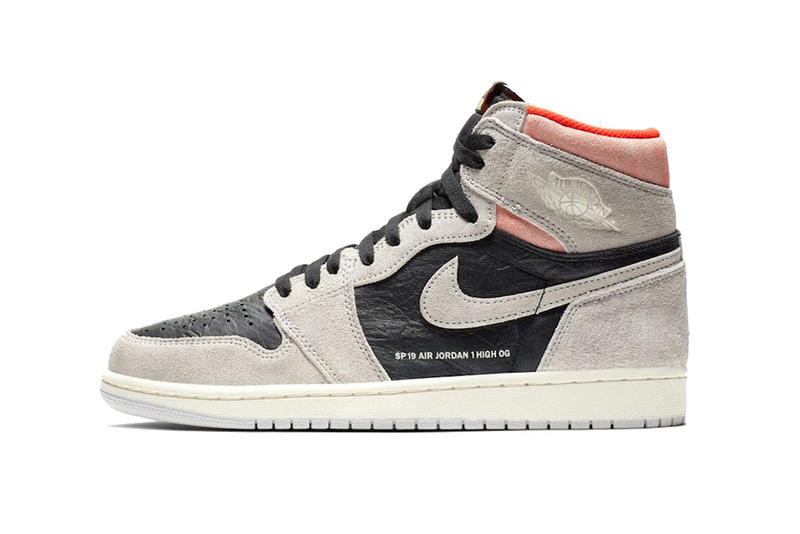 new arrival 5837b 34021 air jordan 1 retro high og neutral grey hyper crimson white black 2019  january footwear jordan