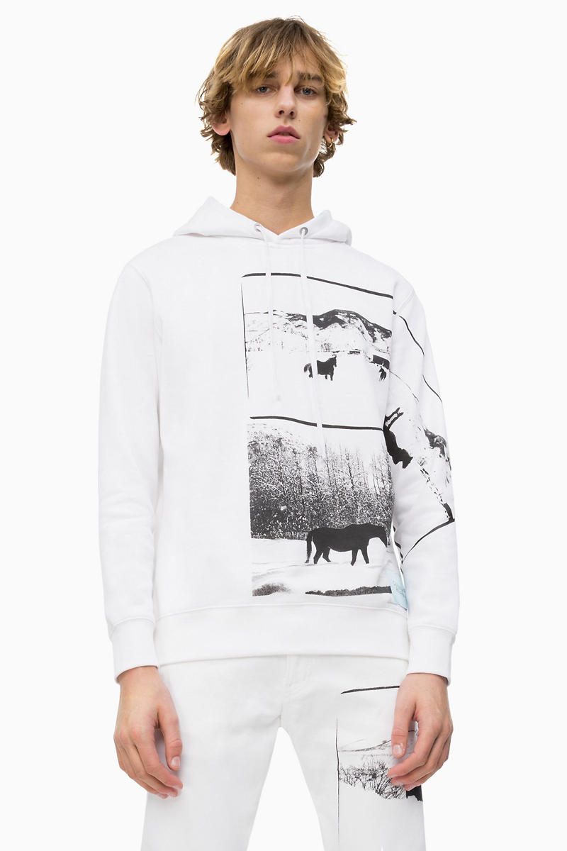 Andy Warhol Calvin Klein Landscapes Collection capsule 1984 black and white photos snowscapes snow mountains aspen colorado horse hoodie bomber jacket denim jeans trucker jacket tee t-shirt