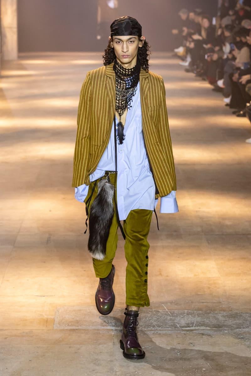 Ann Demeulemeester Fall Winter 2019 Collection FW19 runway paris clothes black green blue pants outerwear jackets coats headgear headbands accessorie