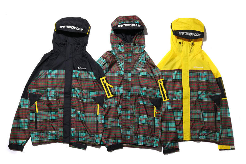 columbia atmos lab capsule collection release 2019 checked omni-shield jackets coats yellow tartan plaid japan tokyo