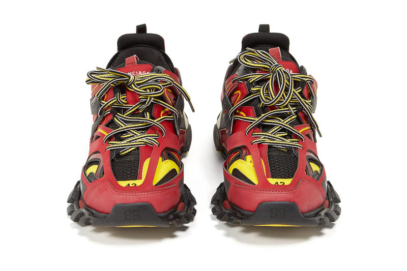 Balenciaga Track Sneakers in Red/Black/Yellow matchesfashion.com ss19 spring summer 2019 chunky sneaker