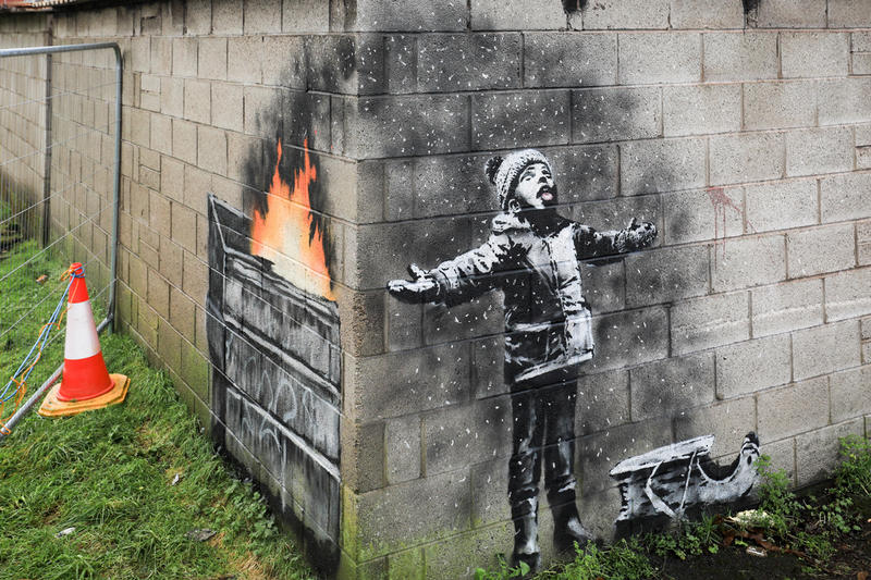 banksy seasons greetings port talbot south wales mural public artwork