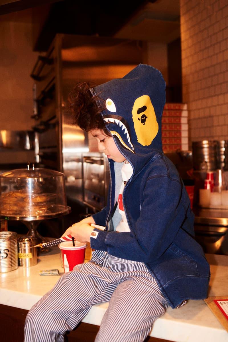 bape kids lee jeans collaboration lookbook images overalls hoodie sweatshirt train conductor baby milo shark