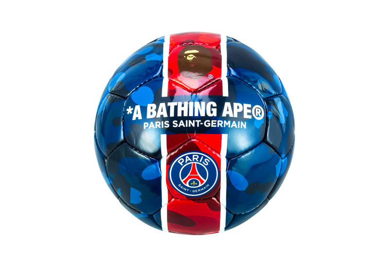 Paris Saint-Germain x BAPE CAMO Football a bathing ape psg blue red white ape head soccer neymar jr mbappe