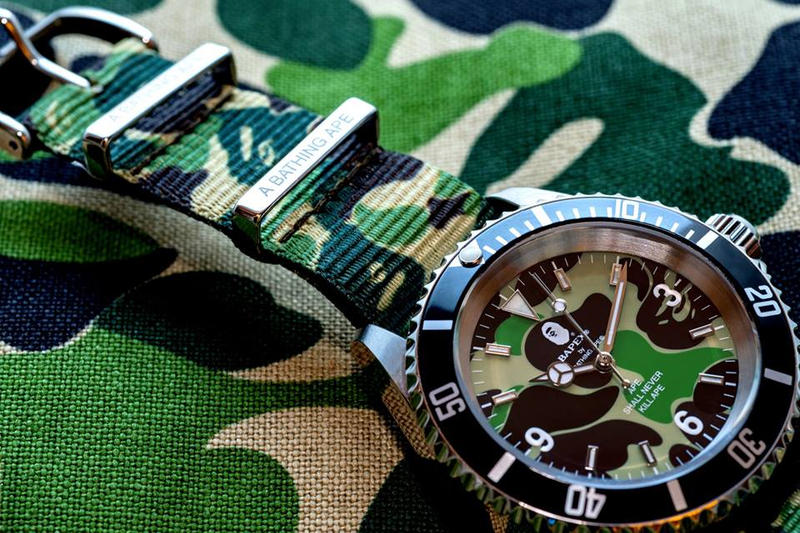 BAPE Type 1 BAPEX With ABC CAMO Straps a bathing ape timepieces watches accessories pink blue green