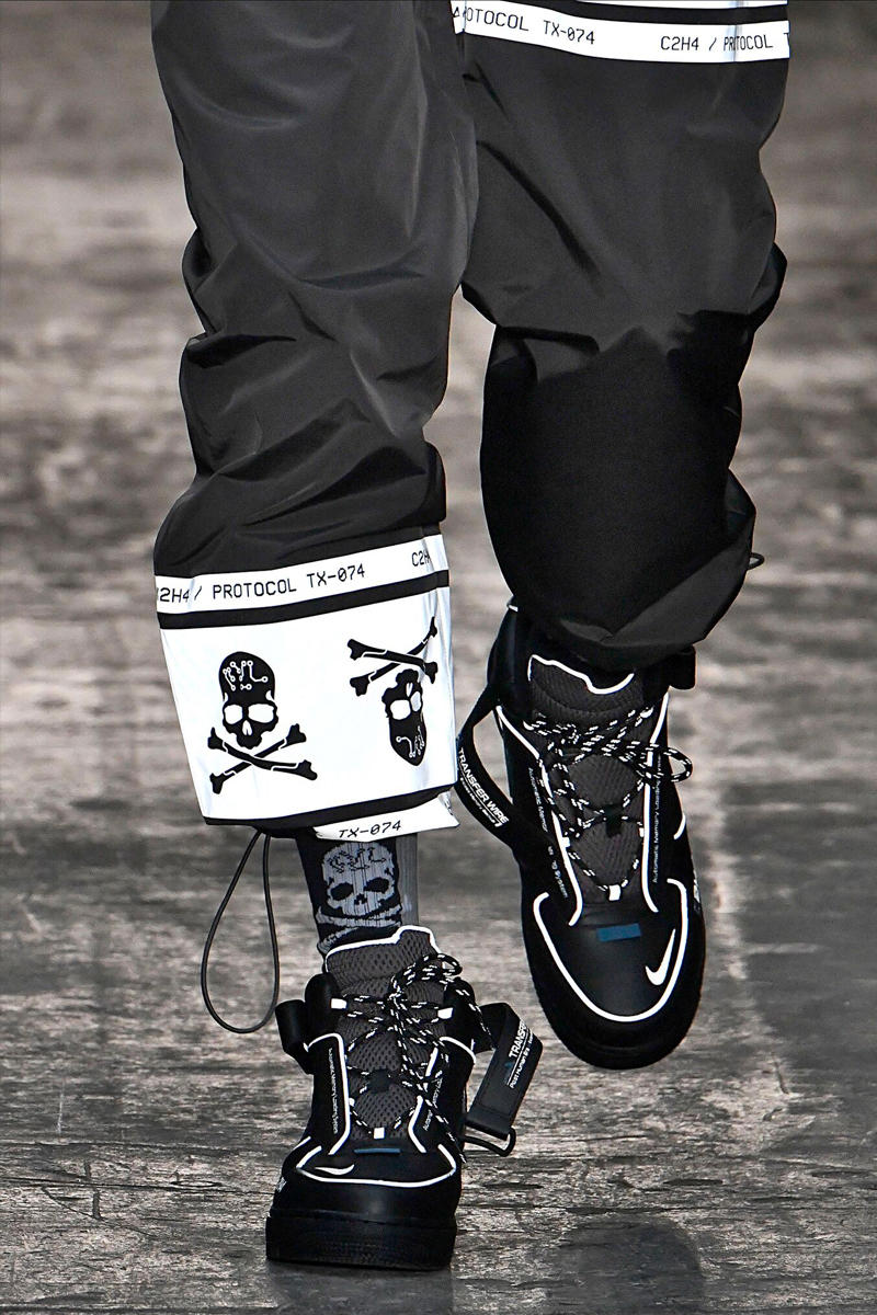 C2H4 Fall Winter 2019 mastermind JAPAN Collaboration Reveal Runway Presentation Show Nike Air Force 1 London Fashion Week Men's mid sneaker release date pre order buy info closer look