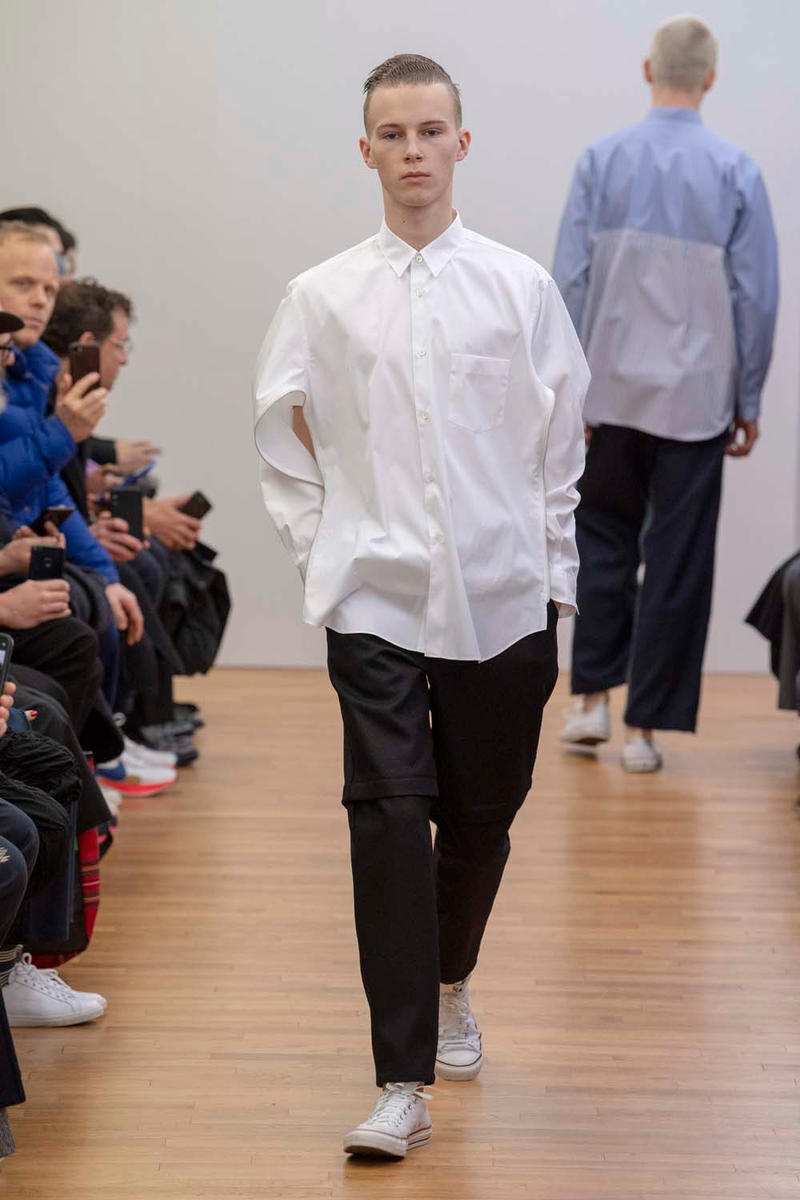 COMME des GARÇONS SHIRT Fall Winter 2019 Collection Paris Fashion Week Mens jacket suiting shirt sweater jacket shorts  Rei Kawakubo