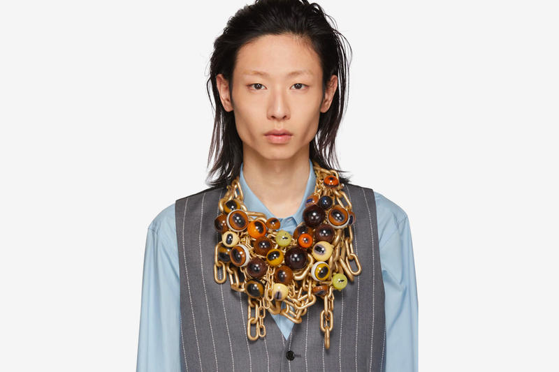 Comme des Garçons Animal-Infused Gold Necklaces whales cat eyeballs neckpieces ssense mouth piece made in japan