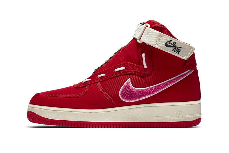 Emotionally Unavailable Nike Air Force 1 High Valentines Day Edison Chen Red Pink White official look E.U. Air