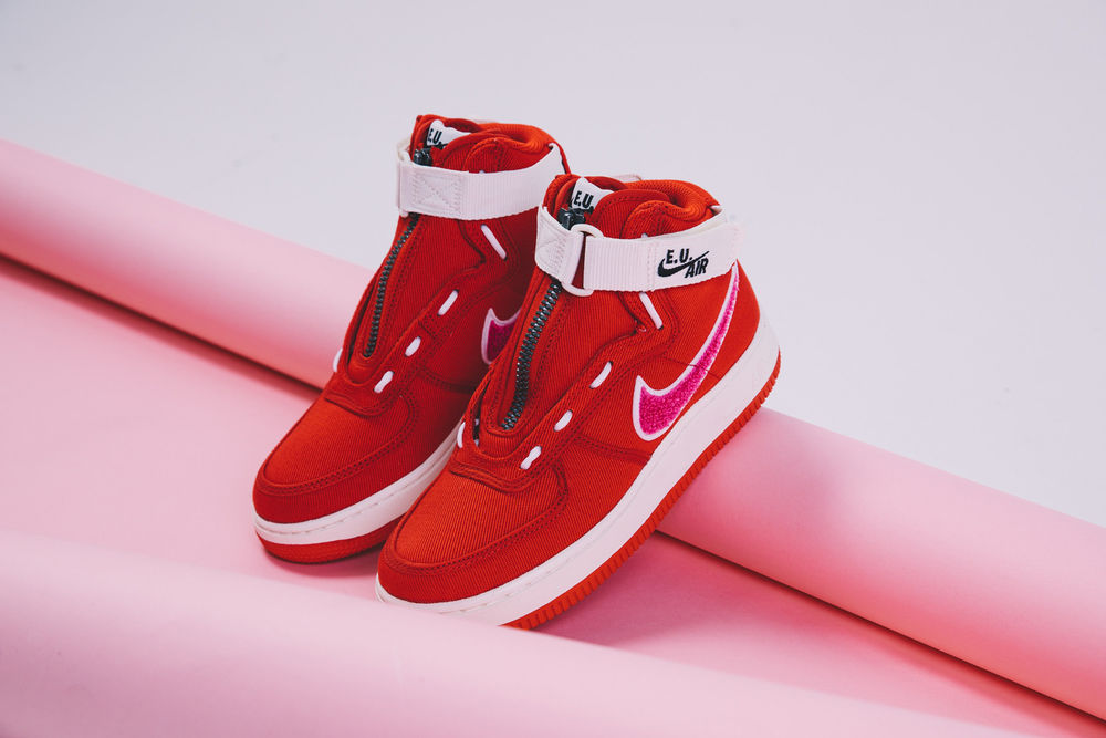 7b0c83ce8 Emotionally Unavailable Nike Air Force 1 High Valentines Day Closer Look red  white pink release info ...