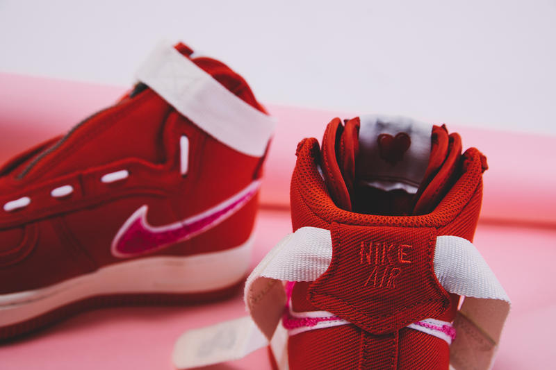 Emotionally Unavailable Nike Air Force 1 High Valentines Day Closer Look red white pink release info date KB Lee Edison Chen