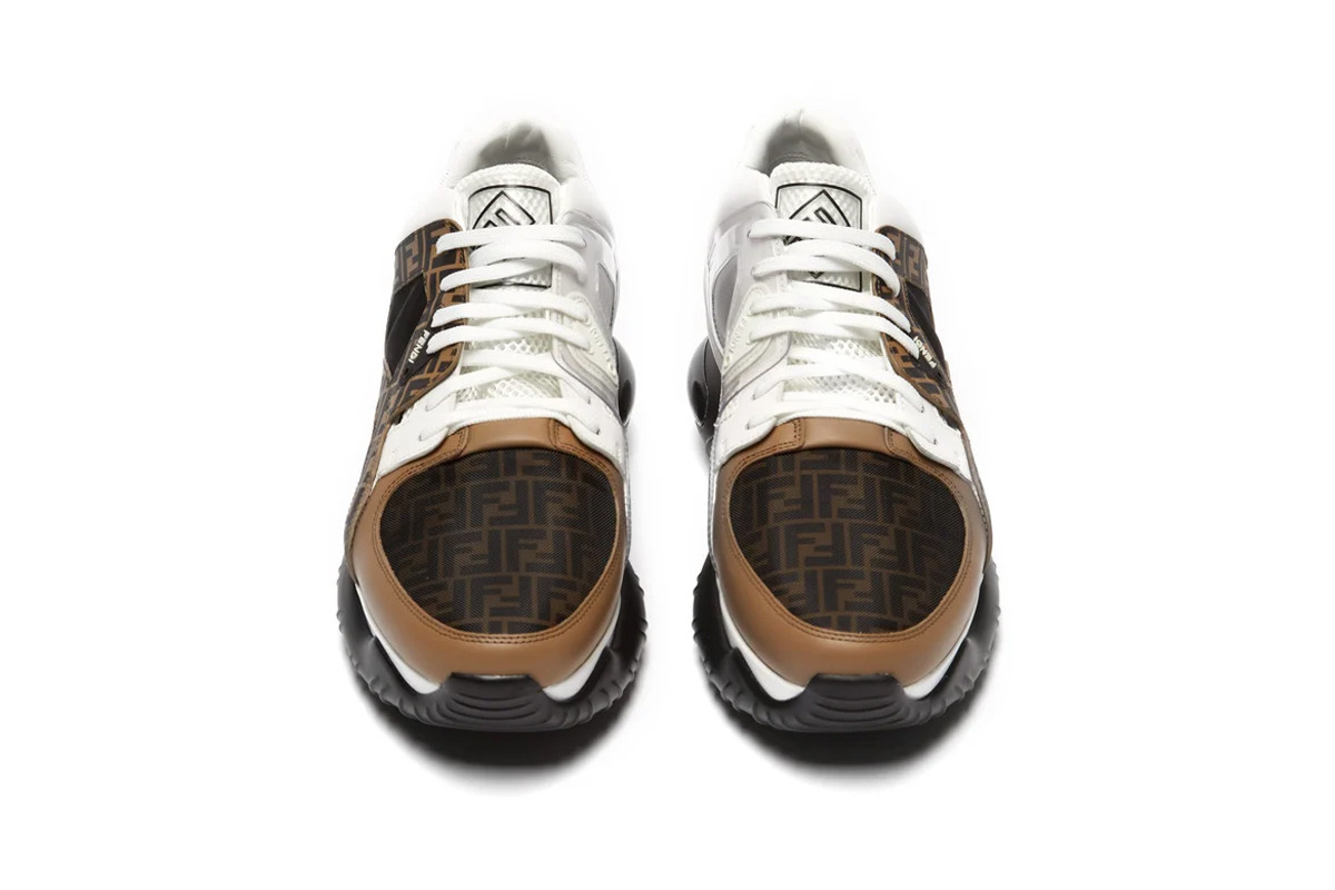 Fendi Low Top Leather And Mesh Sneaker