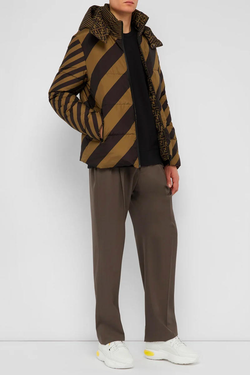 Fendi Reversible Monogram Quilted Down Jacket Release brown black striped matchesfashion.com outerwear winter warm fashion