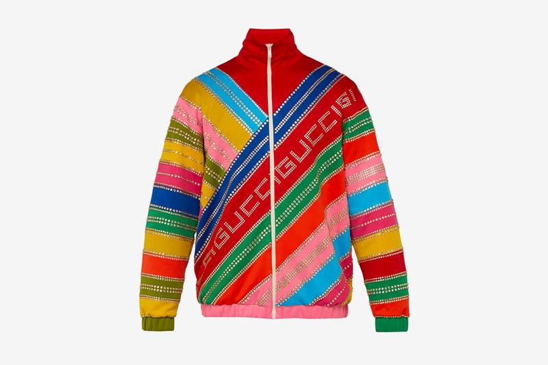 Gucci Crystal Embellished Striped Bomber Jacket Release Info Date MATCHESFASHION.COM red blue green yellow pink