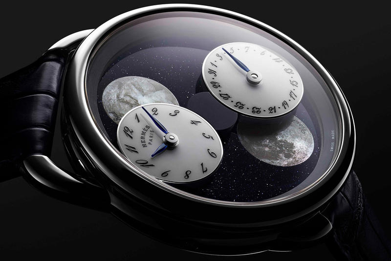 Hermès Arceau L'Heure De La Lune Double Moon Phase Watch northern southern hemispheres date month time seconds hours minutes