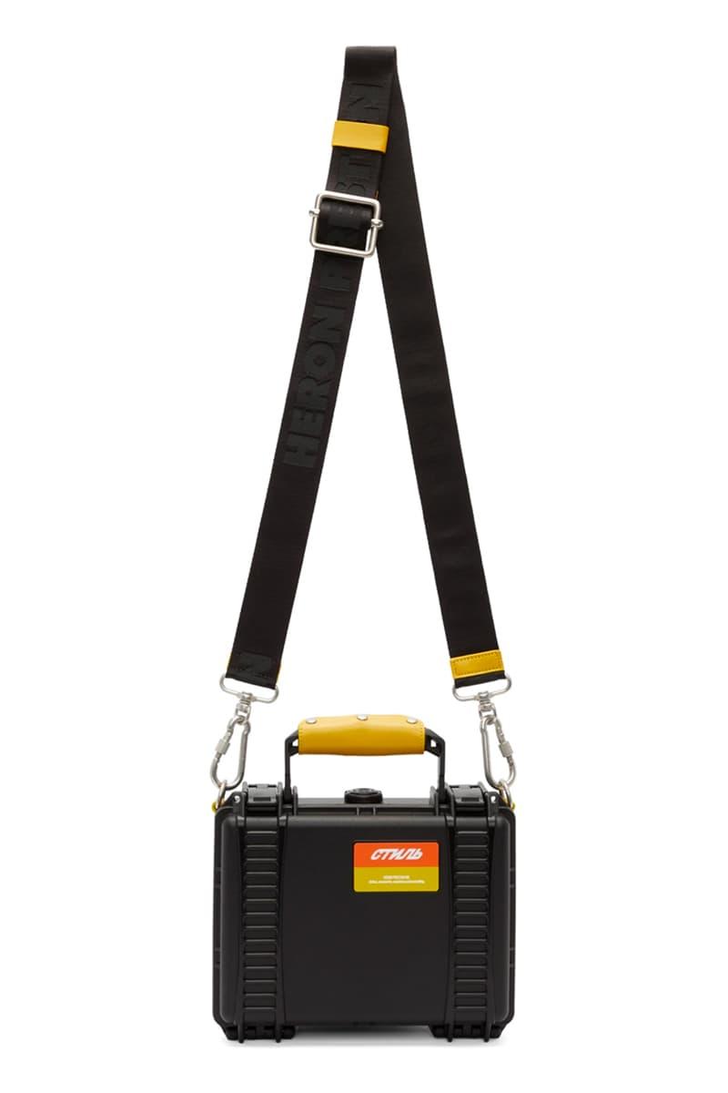 Heron Preston Black Tool Bag Release Plastic Info Plastic date Purse Yellow Orange Strap Industrial