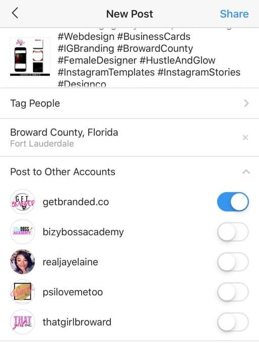 インスタグラム Instagram に1つの投稿を複数アカウント同時にシェアできる新機能が追加