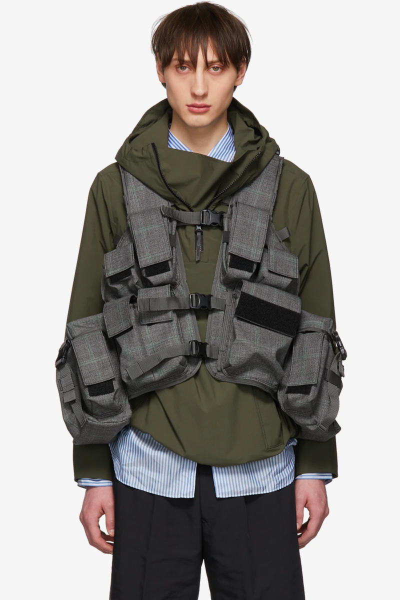 Junya Watanabe Gives Tropical Vest a Classy Makeover green grey check ssense price images release