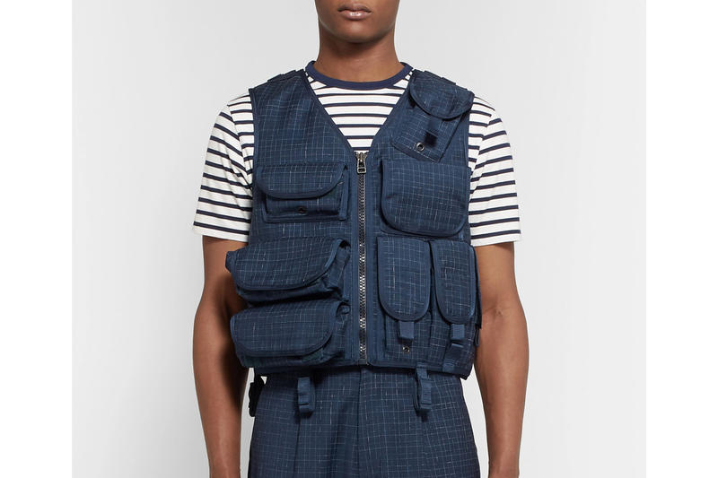 Junya Watanabe Military-Inspired Grosgrain-Trimmed Checked Wool Vest made in japan velcro straps fastening blue navy camo camoflauge lined lining Ark Air