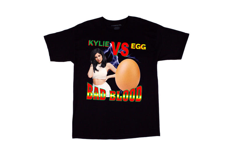 "PizzaSlime Drops Comical ""Kylie vs. Egg"" T-Shirt instagram black eggs"