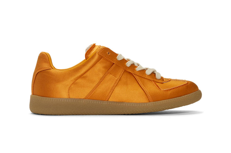 Maison Margiela Launches Three New Satin Replica Sneakers metallic orange light turquoise blue triple black images drop release date prices ssense footwear