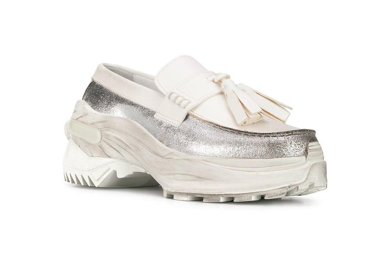 f53046d64b4 Maison Margiela White Silver Ridged-Sole Loafers farfetch S37WR0125P2414  rubber leather chunky sneaker trend