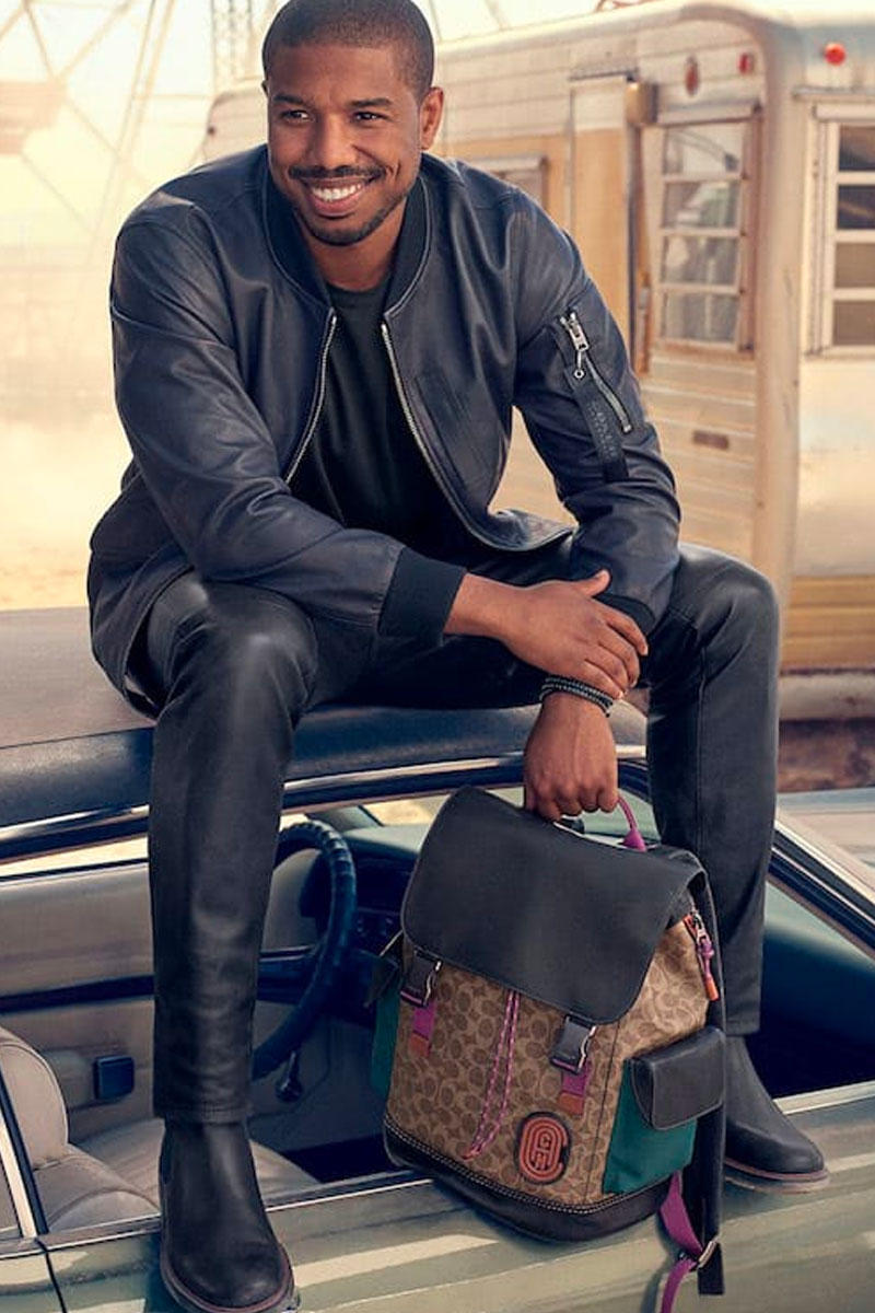 Michael B. Jordan Fronts New Coach Ads black panther leather goods fanny packs backpacks