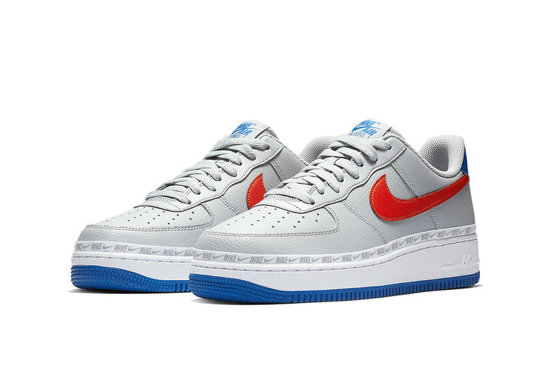 A Closer Look at Nike's Knicks-Themed Air Force 1 Low ribboned red blue white wolf grey habanero red game royal release date price info images footwear sneakers new york nba