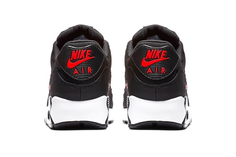 "Nike Air Max 90 ""Hot Habanero"" Release swoosh black red white"