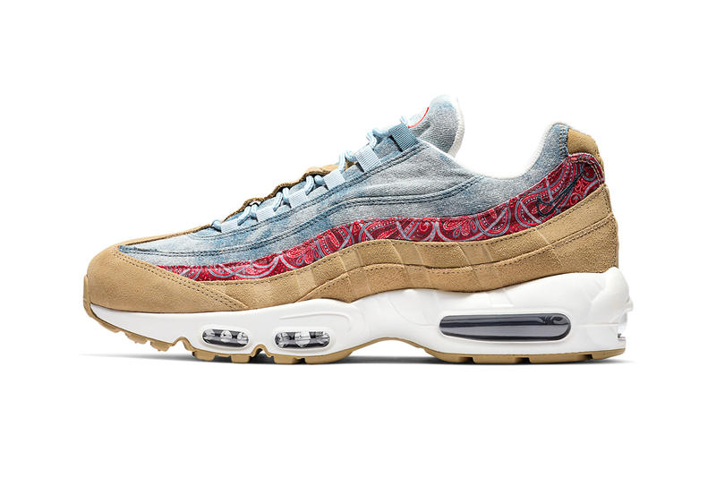 "Nike Air Max 95 ""Wild West"" Release Date denim suede paisley shoes kicks fashion cowboy Parachute Beige University Red Thunderstorm Light Armory Blue Sail Armory Navy"