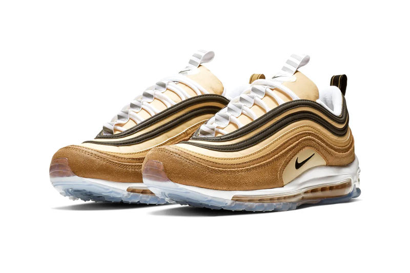 "Nike Air Max 97 ""Unboxed"" Release shipping inspired brown yellow swoosh"