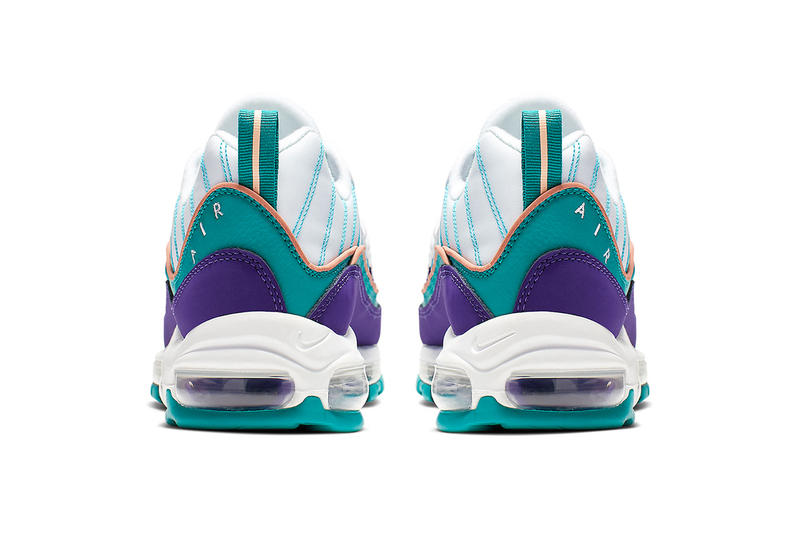 "Nike Air Max 98 Charlotte Hornets Colorway ""Court Purple/Terra Blush-Spirit Teal"" 640744-500 release info price stockists web store air max unit air bubble sole"
