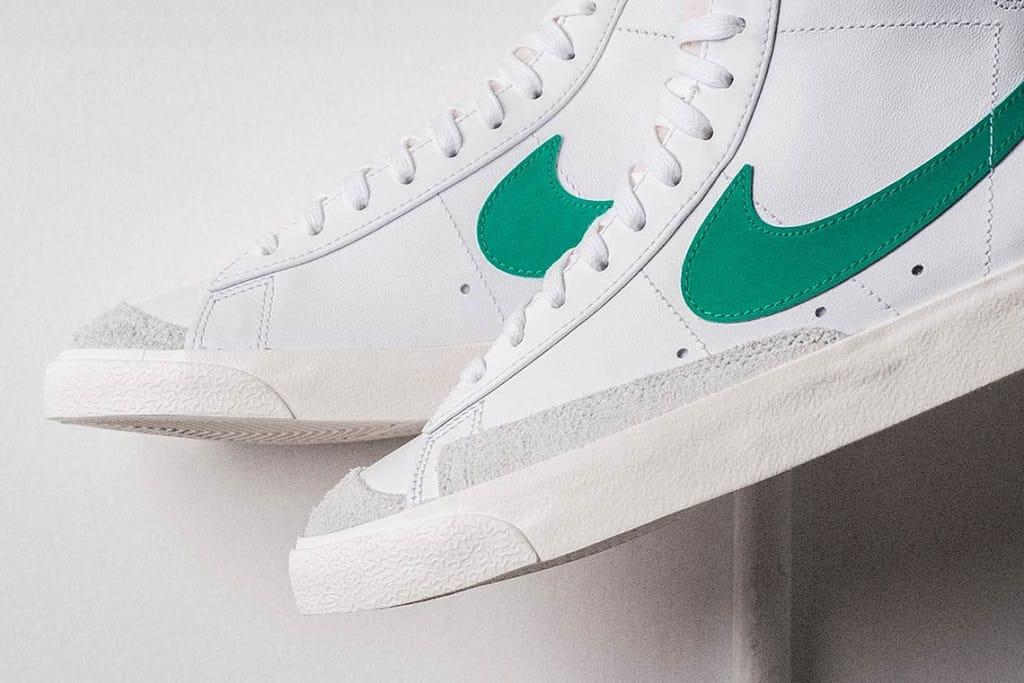 nike blazer mid white green