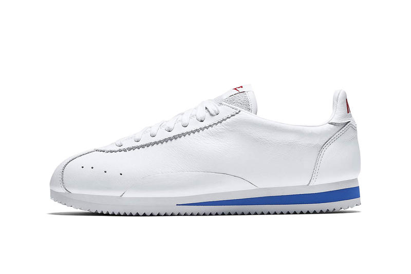 nike cortez premium swooshless plain colorway white black sail release date drop red blue leather buy 807480-003 807480-103