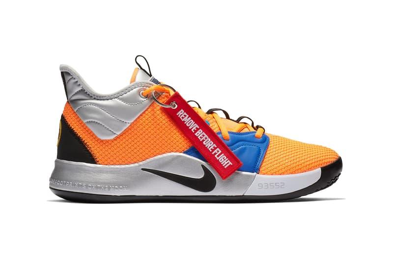 nike paul george pg 3 sneaker shoe colorway nasa collaboration orange silver flight tag release date info january 2019 19