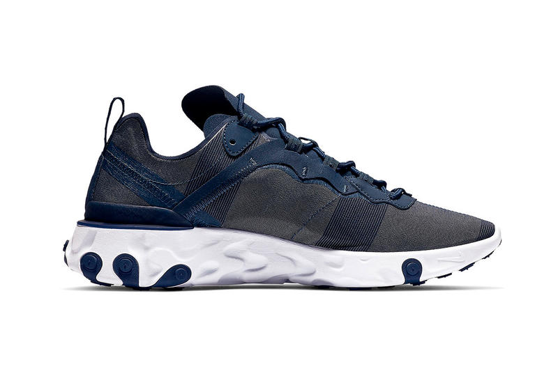 "Nike React Element 55 ""Midnight Navy"" Release swoosh"
