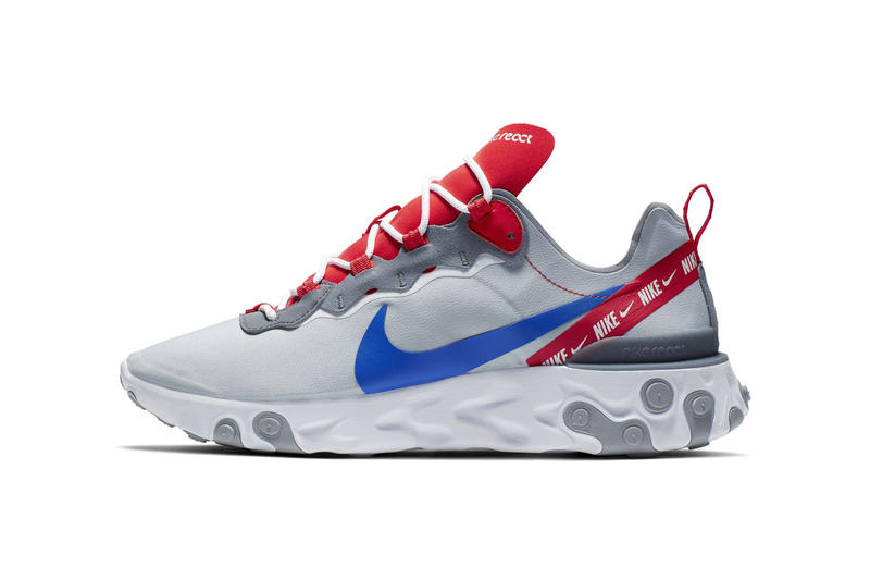 size 40 ef240 947c5 Nike React Element 55 Sneaker shoe overbranded logo stripe red colorway  release info drop