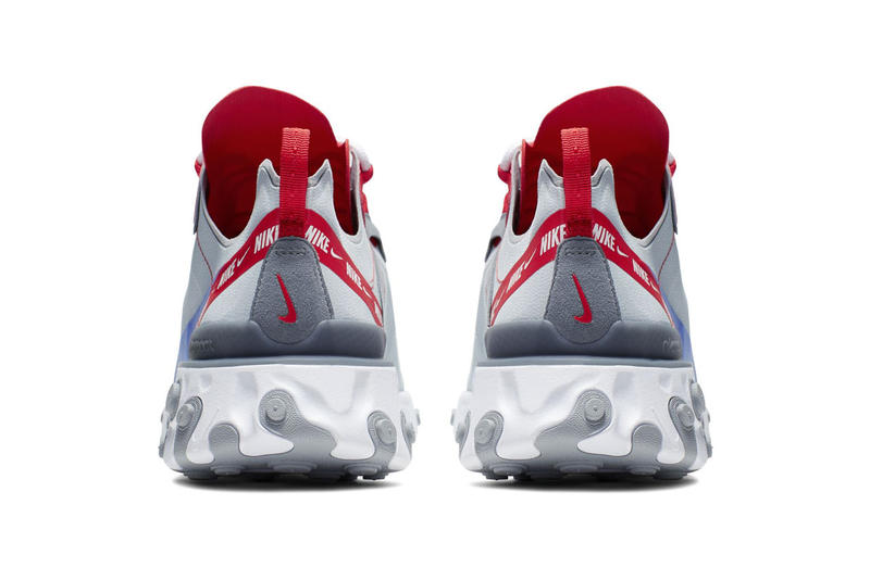 Nike React Element 55 Sneaker shoe overbranded logo stripe red colorway release info drop