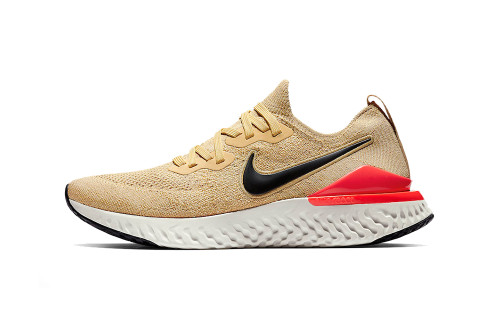 "Nike Epic React Flyknit 2 ""Club Gold/Metallic Gold/Black/Red Orbit-Desert Orange"""