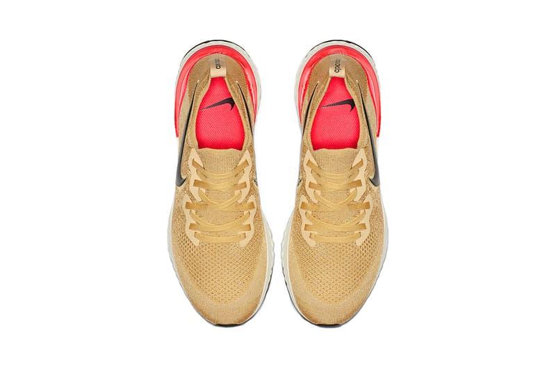 nike epic react flyknit 2 Club Gold Metallic Gold Black Red Orbit Desert Orange 2019 january nike running footwear