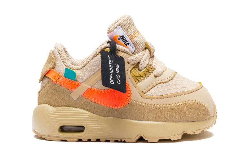 new concept 6c0a8 56aad Off White Nike Air Max 90 Baby Size Release Toddler Desert Ore Black Virgil  Abloh Kids