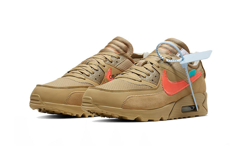 off white nike air max 90 desert ore hyper jade bright mango 2019 january footwear nike sportswear virgil abloh