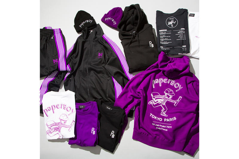 PaperBoy Paris BEAMS NEEDLES Capsule Pop Up Paris Fashion week Tracksuit jacket pants beanies hoodie t shirt black purple poly smooth